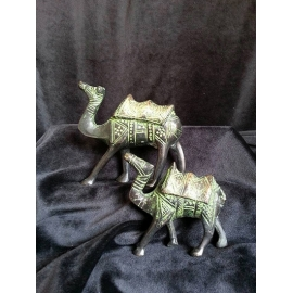 Brass Verdigris Camel Set