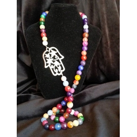 Hamsa rainbow agate necklace