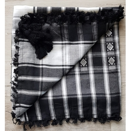 Shemagh Scarf ~ Black / White / Silver diamond