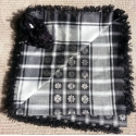Shemagh Scarf ~ Black / White / Silver flora