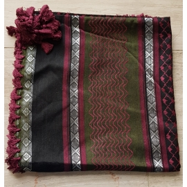 Shemagh Scarf ~ Black / Olive / Burgundy