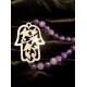 Hamsa Amethyst agate necklace