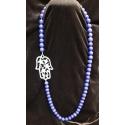 Hamsa Lapis Agate Necklace