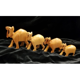 Hand carved camel caravan set