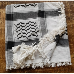 Shemagh scarf - White/black/ white tassels