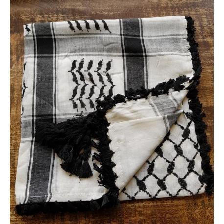 Shemagh scarf - White/Black/ Black tassels