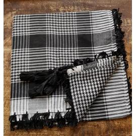 Shemagh scarf ~ Black / White Houndstooth weave
