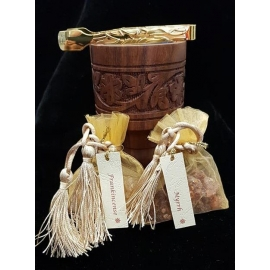 Frankincense and Myrrh Incense Burning Set - Carved wood