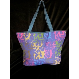 Canvas Zipped Top Tote - Blue
