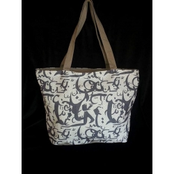 Canvas Zipped Top Tote - Grey