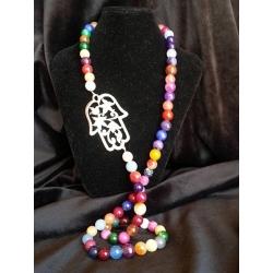Hamsa rainbow agate necklace