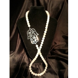 Hamsa Rose Quartz Necklace
