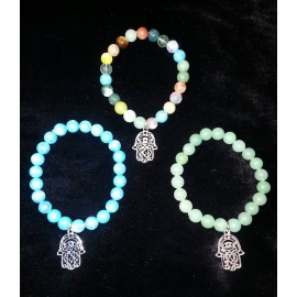 Agate Bracelet With Silver-tone Hamsa