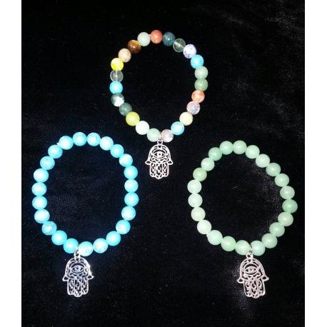 Agate Bracelet With Silver-tone Hamsa